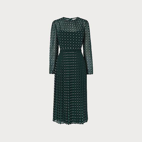 Avery Green Spot Print Pleated Midi Dress
