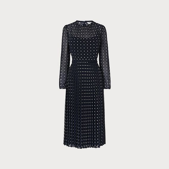 Avery Navy Spot Print Pleated Midi Dress
