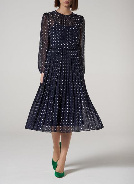 Avery Navy Spot Print Pleated Midi Dress