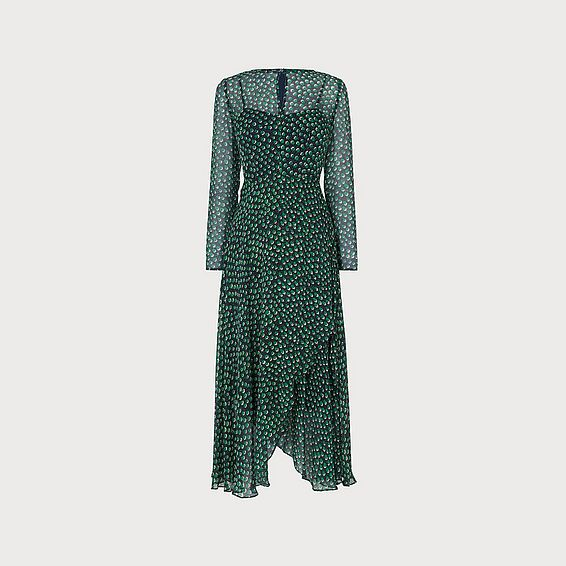 Beya Devore Spot Print Asymmetric Green Midi Dress