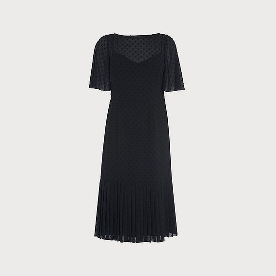 Boe Self-Spot Black Midi Dress