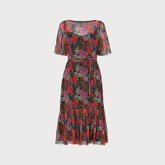 Boe Floral Print Devoré Spot Midi Dress