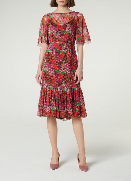 Boe Floral Print Devoré Spot Midi Dress