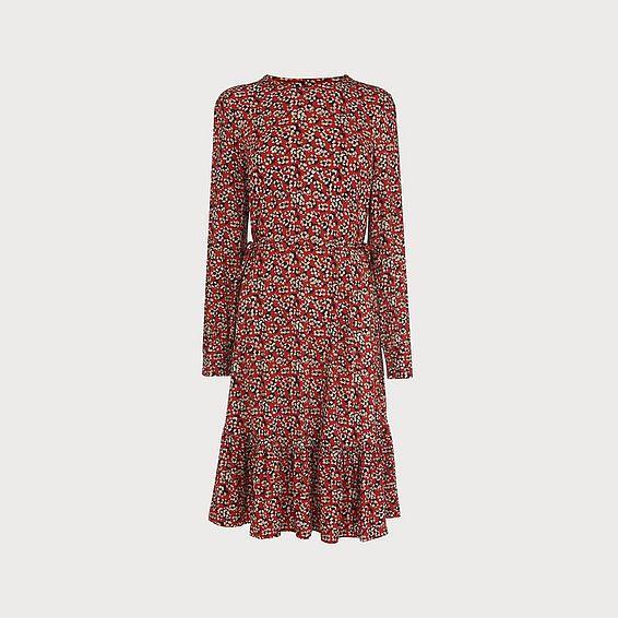 Carina Floral Print Red Dress