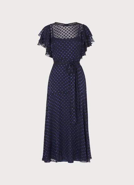 Ello Navy Burnout Spot Dress