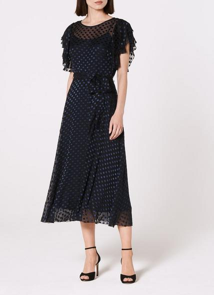 Ello Navy Burnout Spot Dress