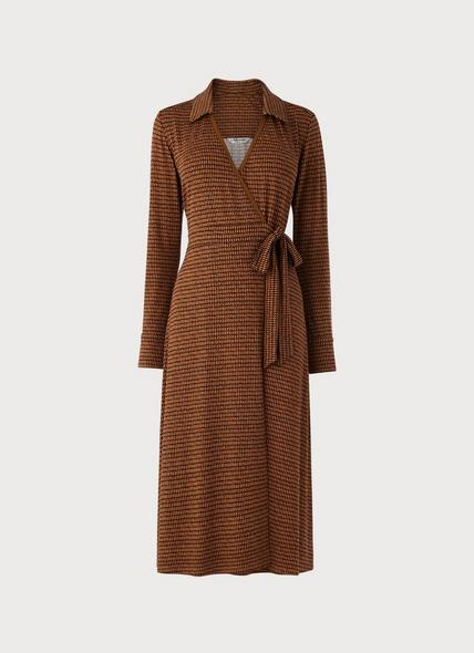 Enya Brown Geodashes Print Dress