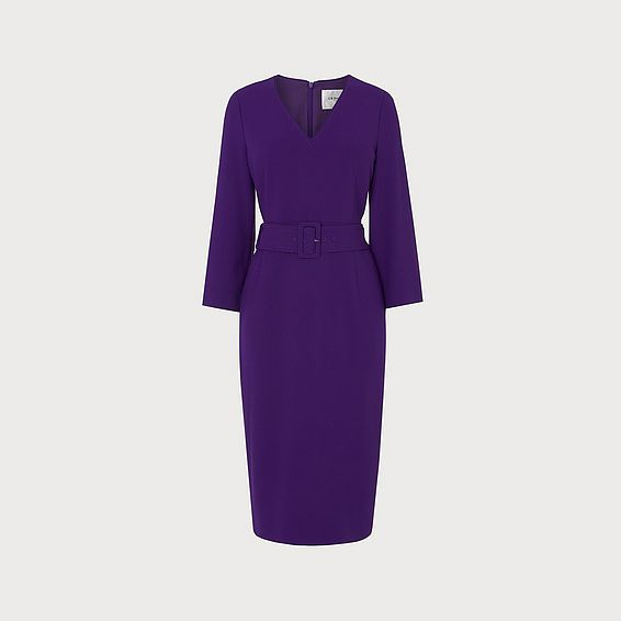 Esther Purple V Neck Belted Dress