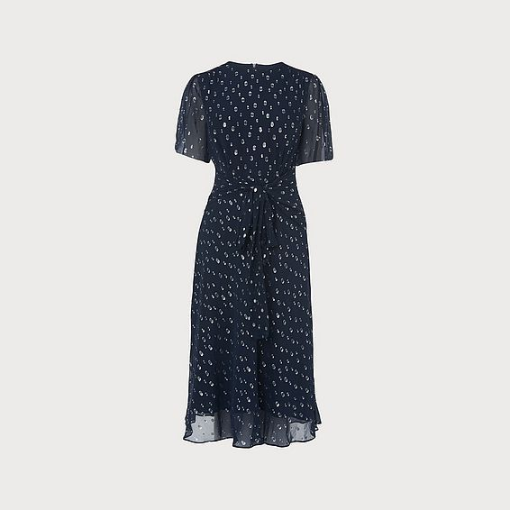 Eve Navy Silk Dress