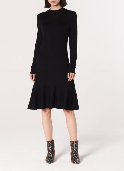 Flossy Black Merino Wool Dress