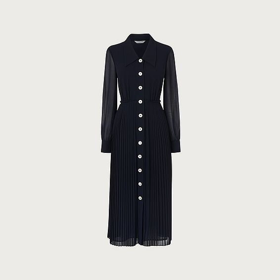 Fozette Navy Pleated Shirt Dress