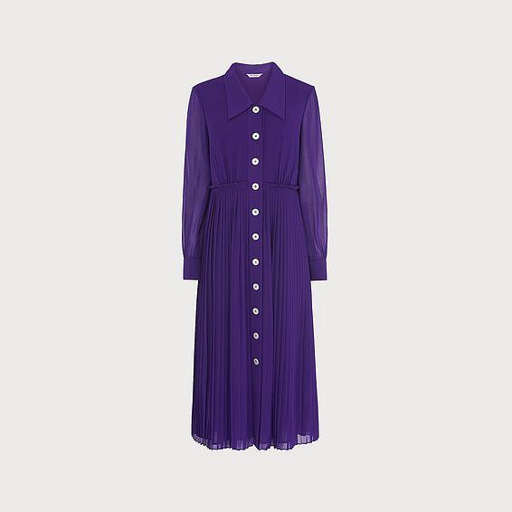 Fozette Purple Pleated Shirt Dress