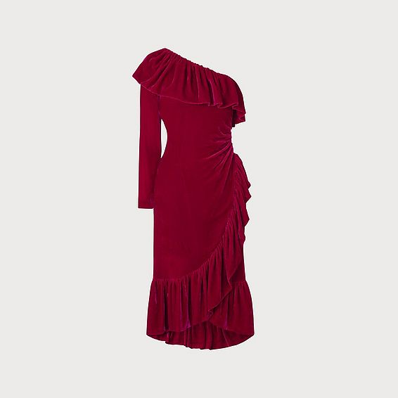 Freud Magenta One Shoulder Velvet Dress