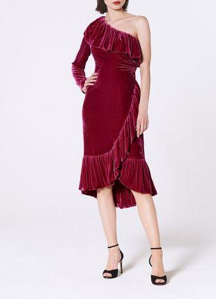 Freud Magenta One Shoulder Velvet Dress