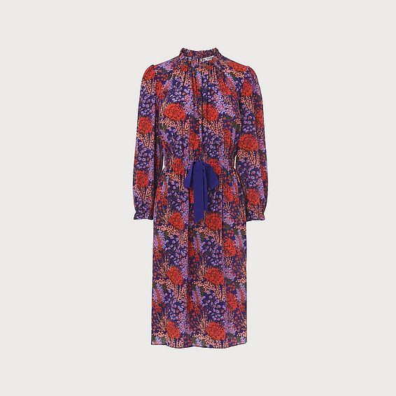 Isobel Purple Floral Print Silk Dress