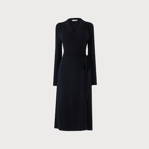 Juliette Navy Merino Wool Wrap Dress