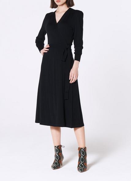 Juliette Navy Merino Wool Wrap Dress