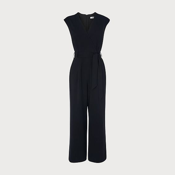 Kent Black Crepe Wrap Jumpsuit