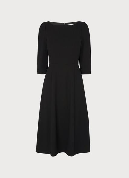 Lemoni Black Fit & Flare Crepe Sleeve Dress