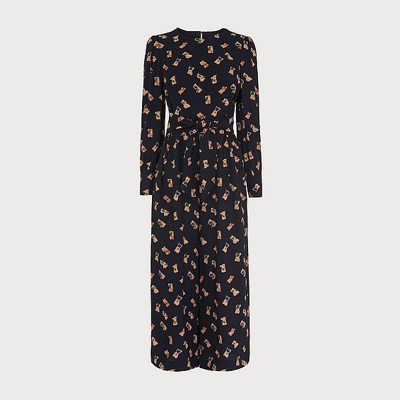 Lina Black Book Print Jumpsuit