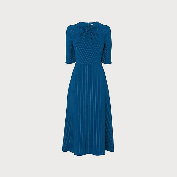 Mariann Blue Twist Neck Jacquard Dress