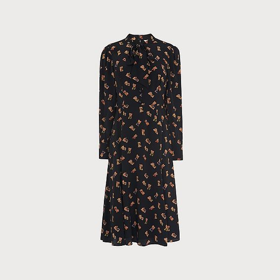 Mortimer Black Book Print Silk Dress