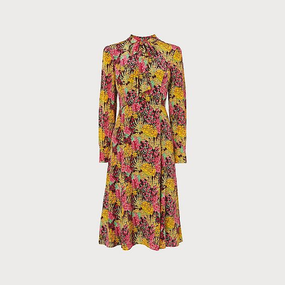 Mortimer 1930's Floral Print Silk Tea Dress