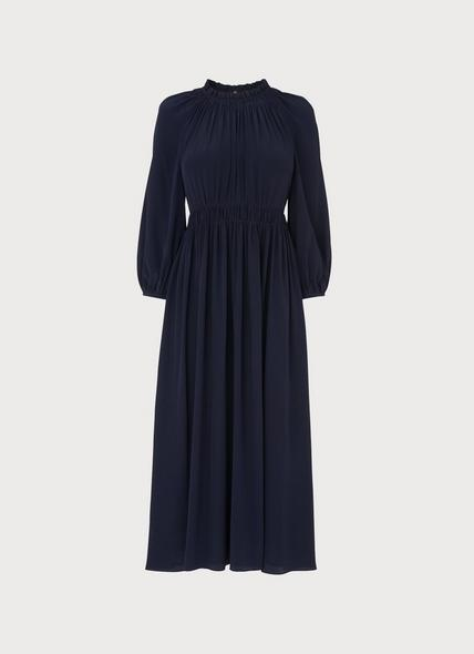 Odellie Midnight Blue Gathered Silk Dress