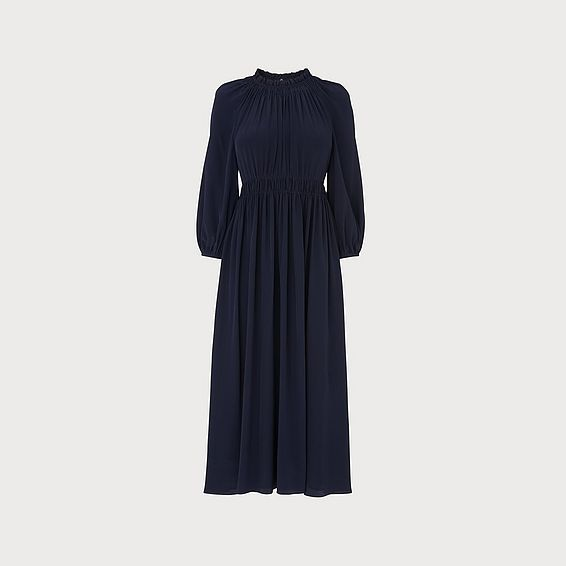 Odellie Midnight Blue Gathered Silk Dress