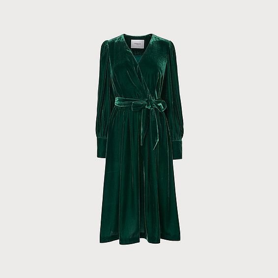 Roman Green Velvet Wrap Dress