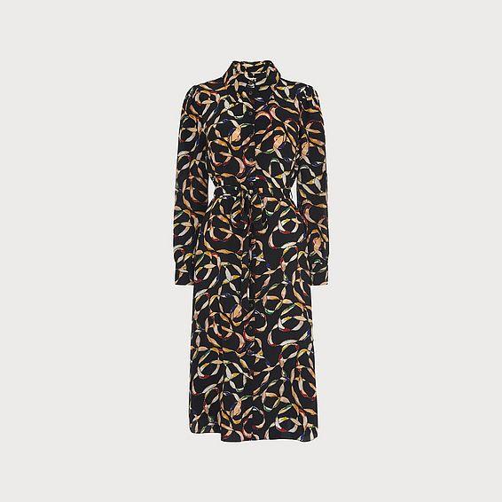 Runa Ribbon Print Shirt Dress