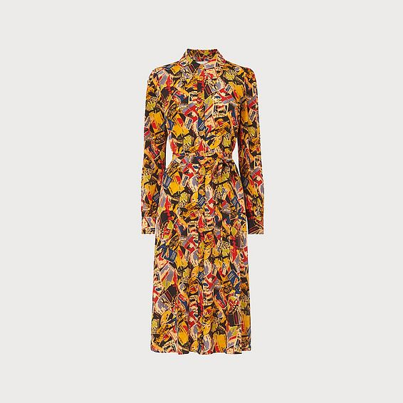 Runa Luggage Print Silk Shirt Dress