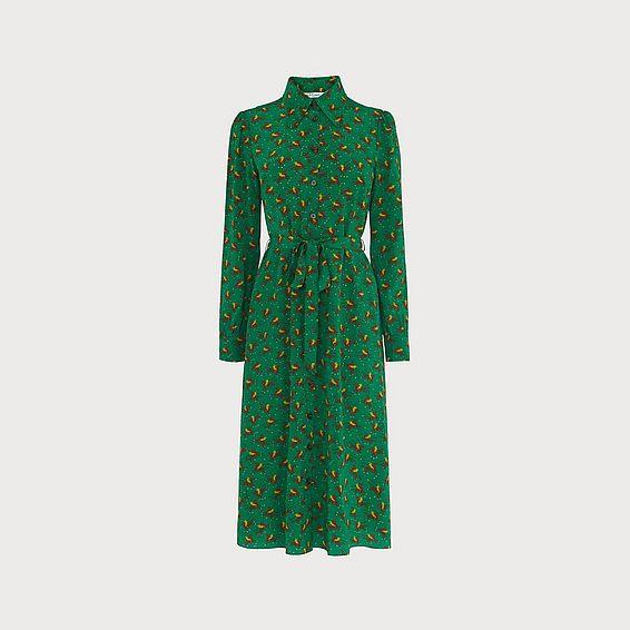 Sonya Polo Print Green Silk Dress
