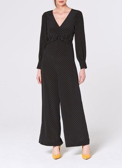 Valerie Navy Polka Dot Silk Jumpsuit