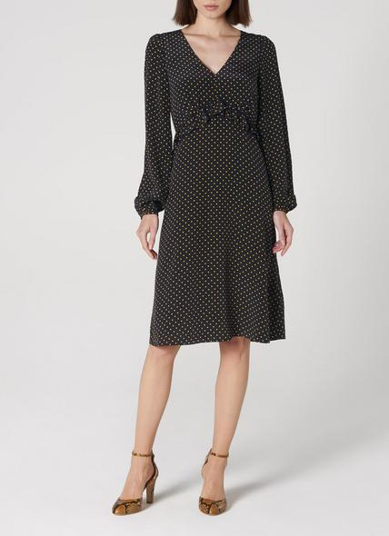Zadie Navy Polka Dot Silk Dress