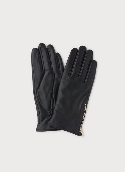Kiera Black Leather Gloves