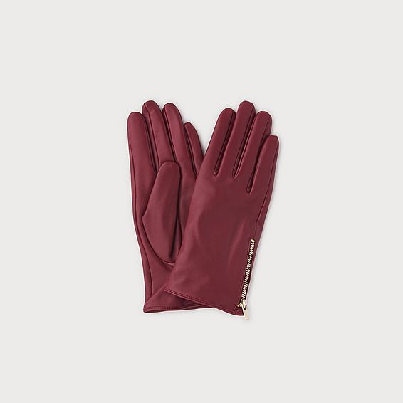 Kiera Burgundy Leather Gloves