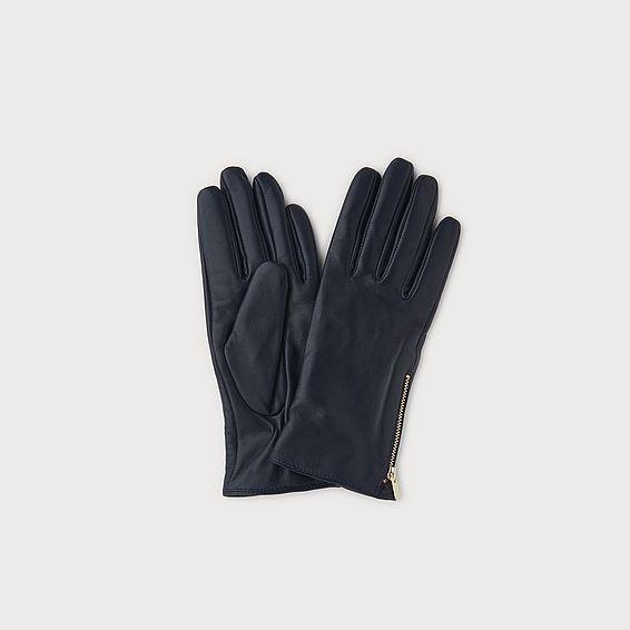 Kiera Navy Leather Gloves