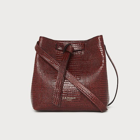 Bella Burgundy Lizard Effect Shoulder Bag
