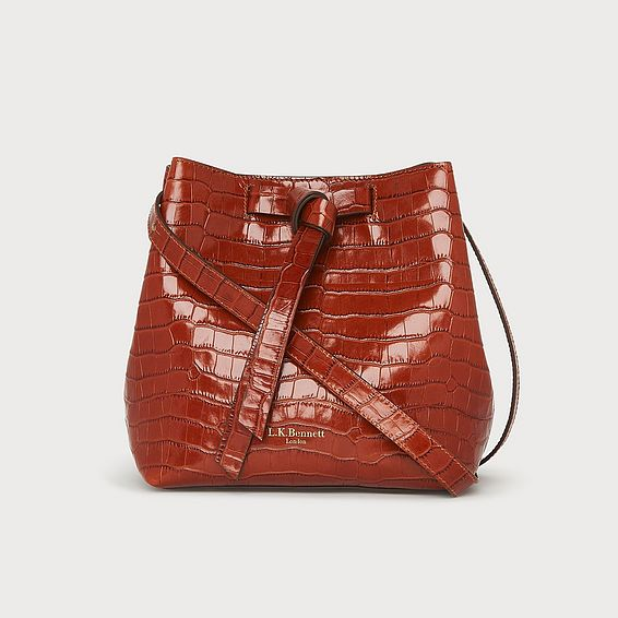 Bella Caramel Croc Effect Shoulder Bag