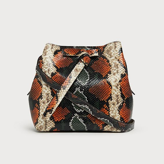 Bella Orange Snake Print Shoulder Bag