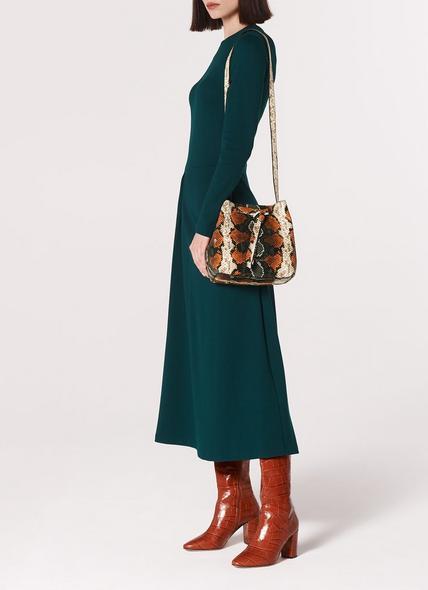 Bella Orange Snake Print Shoulder Bag