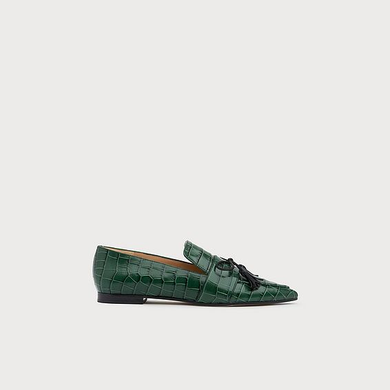 Celina Green Croc-Effect Leather Tassel Loafers