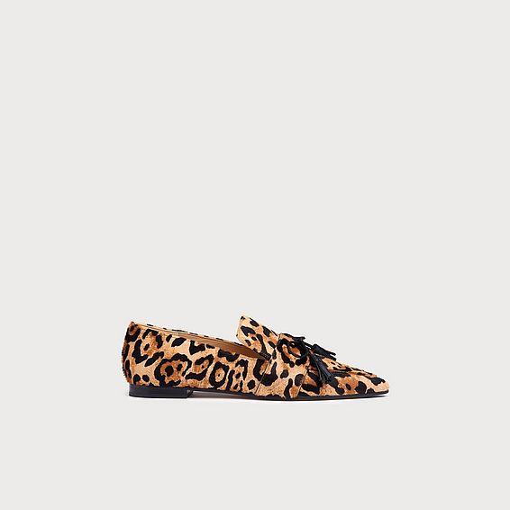 Celina Leopard Print Calf Hair Tassel Loafers