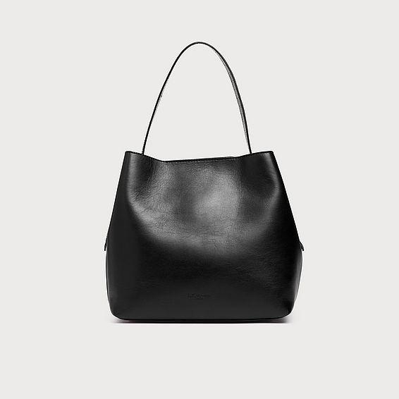 Helena Black Leather Tote Bag