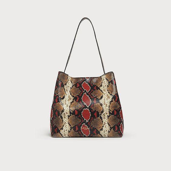 Helena Red Snake Print Tote Bag