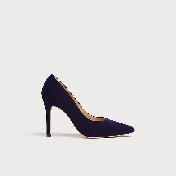 Fern Purple Velvet Pointed Toe Courts