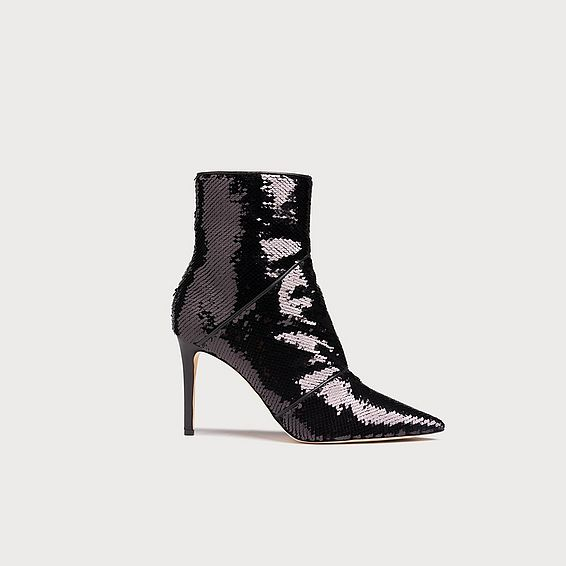 Veronica Black Sequin Ankle Boots
