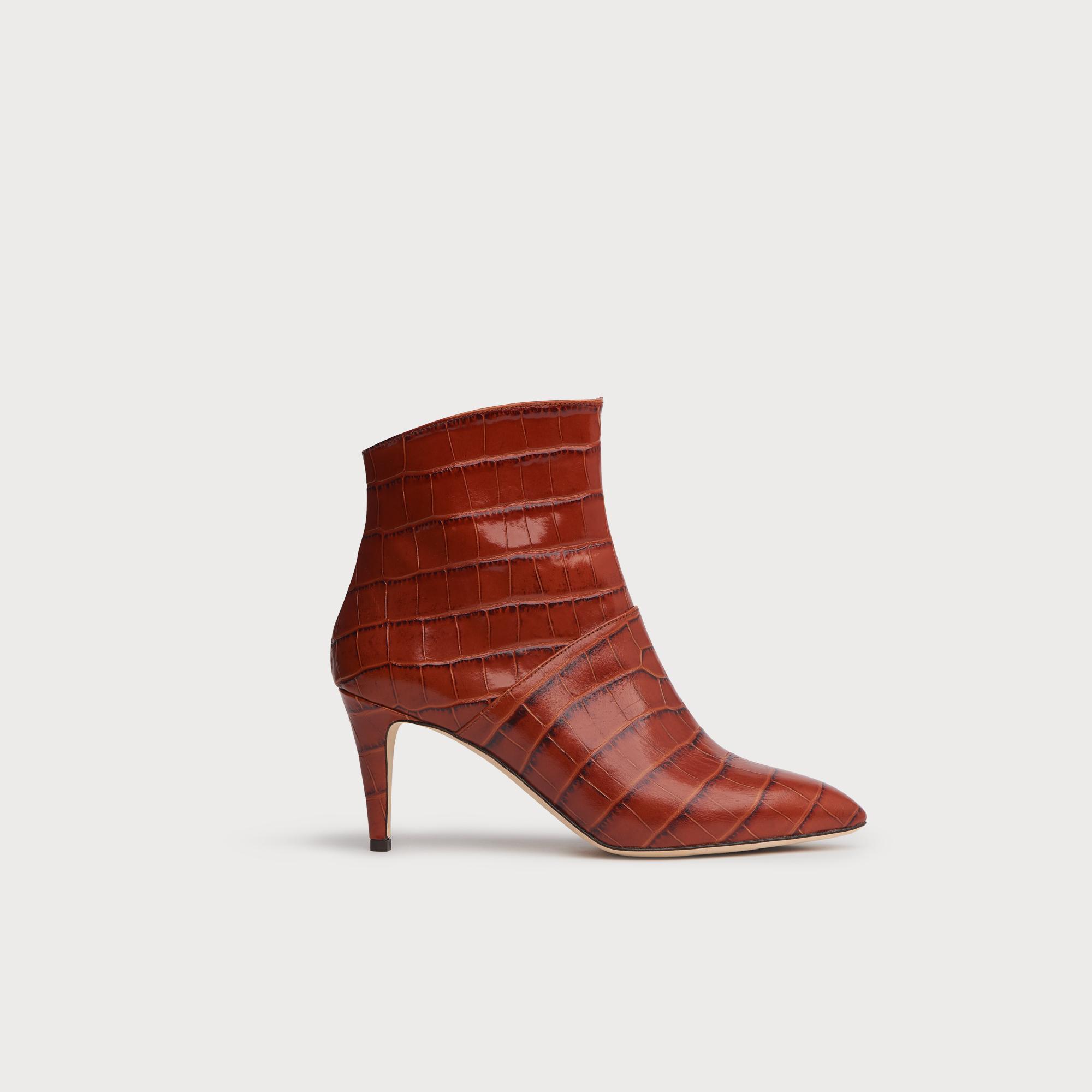 082b7f9c40a1a Bethan Caramel Croc Effect Ankle Boots