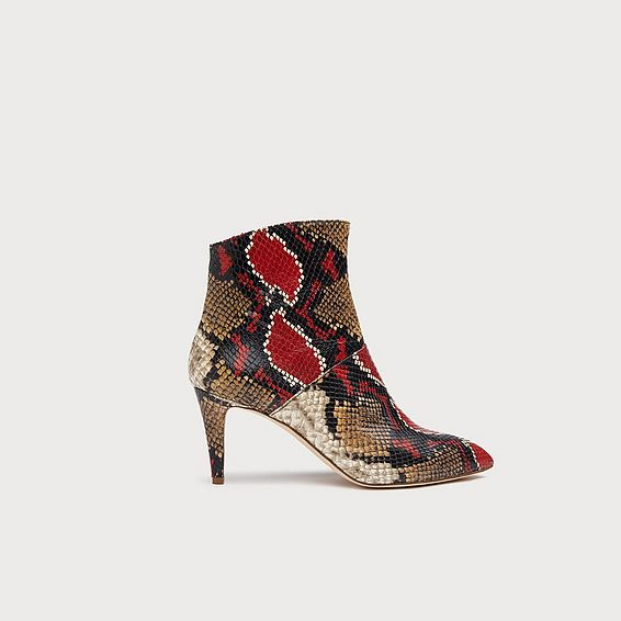 Bethan Snake Print Leather Ankle Boots